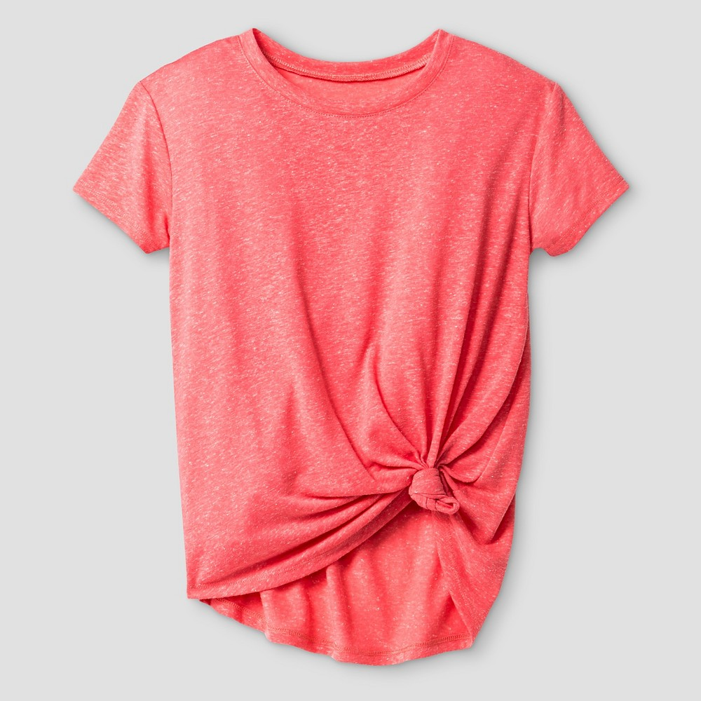 Girls' Tie Front T-Shirt Art Class – Coral (Pink) L, Girl's