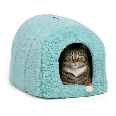 Best Friends by Sheri Pet Igloo in Sherpa Pet Bed - Teal - Small