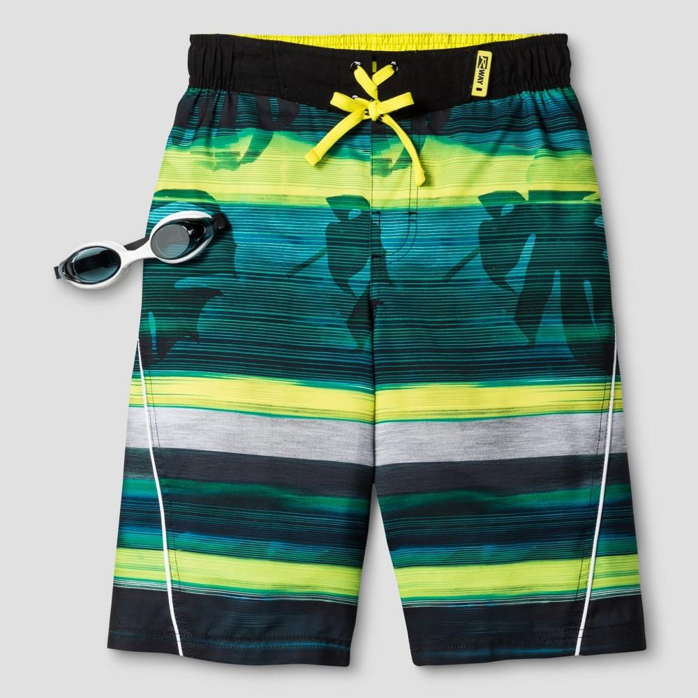 Boys Stripe Boardshort Green L - R-Way by ZeroXposur