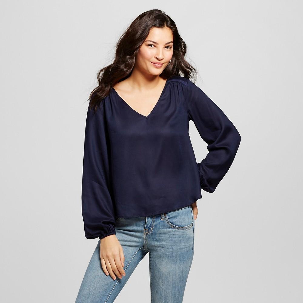 Women's Long Sleeve Blouse Navy (Blue) S - Merona