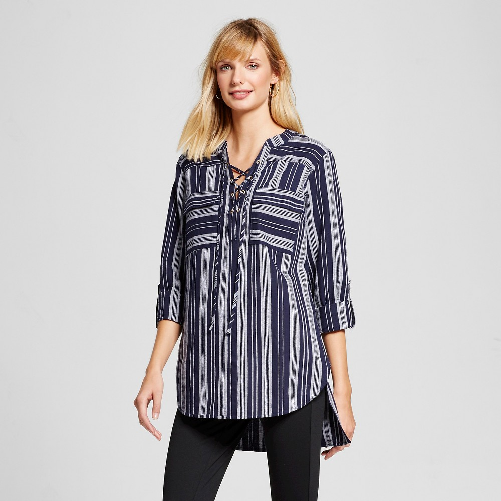 Womens Lace-up Front Tunic Navy Stripe L - Merona, Blue