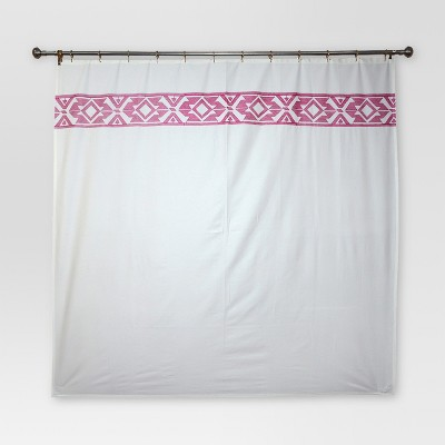 Solid Fabric With Embroidery Shower Curtain (72 x72 )Cream - Threshold™