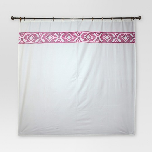 Solid Fabric With Embroidery Shower Curtain 72 X72 Cream Threshold Target