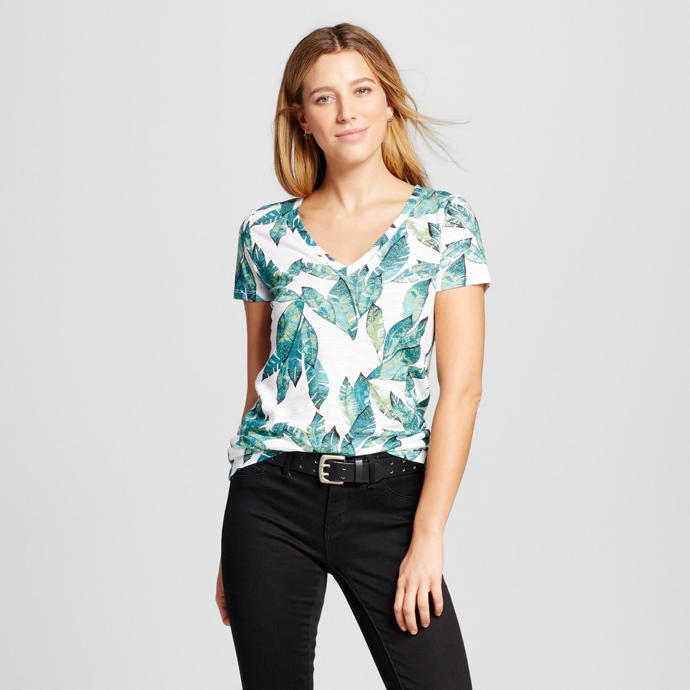 Womens Printed Vintage V-Neck T-Shirt - Merona White Leaf Print XS