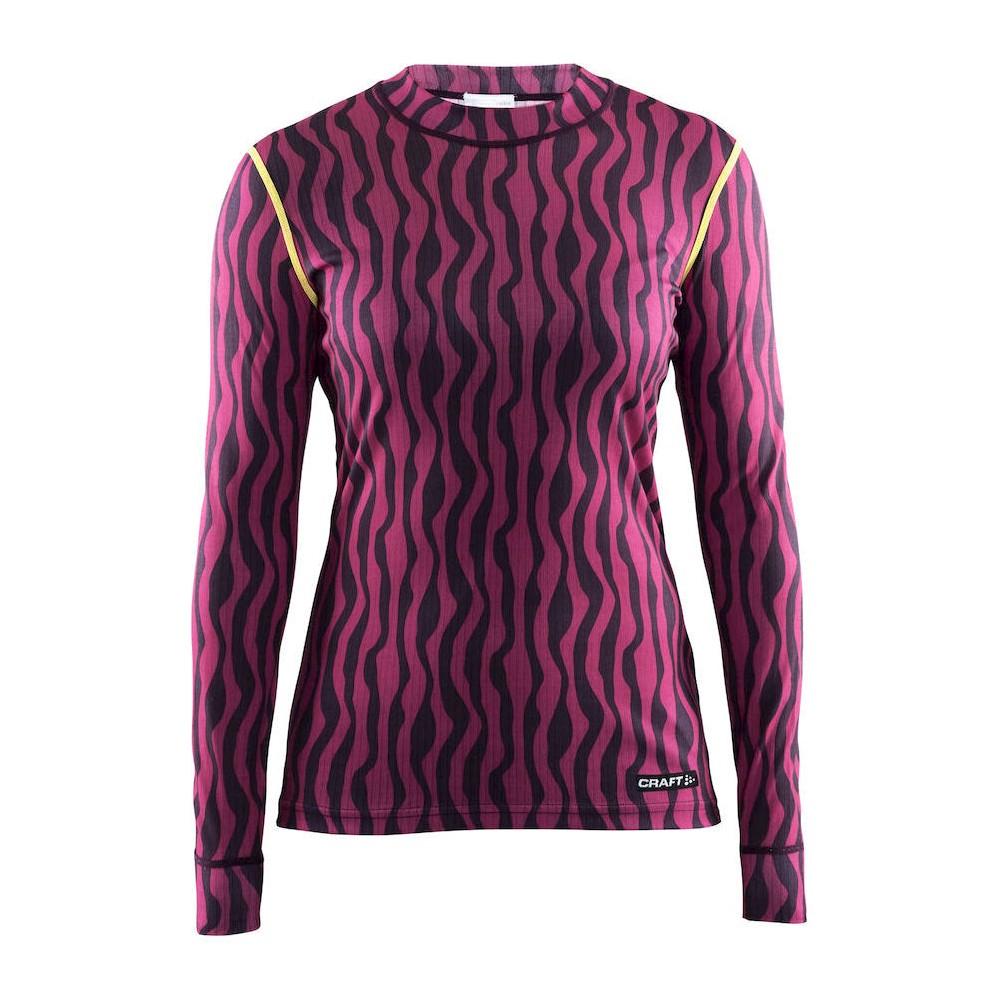 Craft Sportswear – Women's Mix and Match Long Sleeve Half Neck Thermal Underwear Shirts – Pink/Purple Zebra XL, Multi-Colored