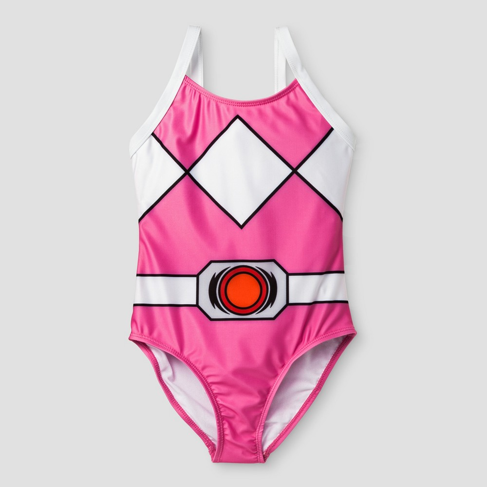 Girls Power Rangers One-Piece Swimsuit - Pink L