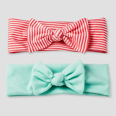 Girls' 2-Pack Woven Headwrap - Cat & Jack™ Coral/Mint