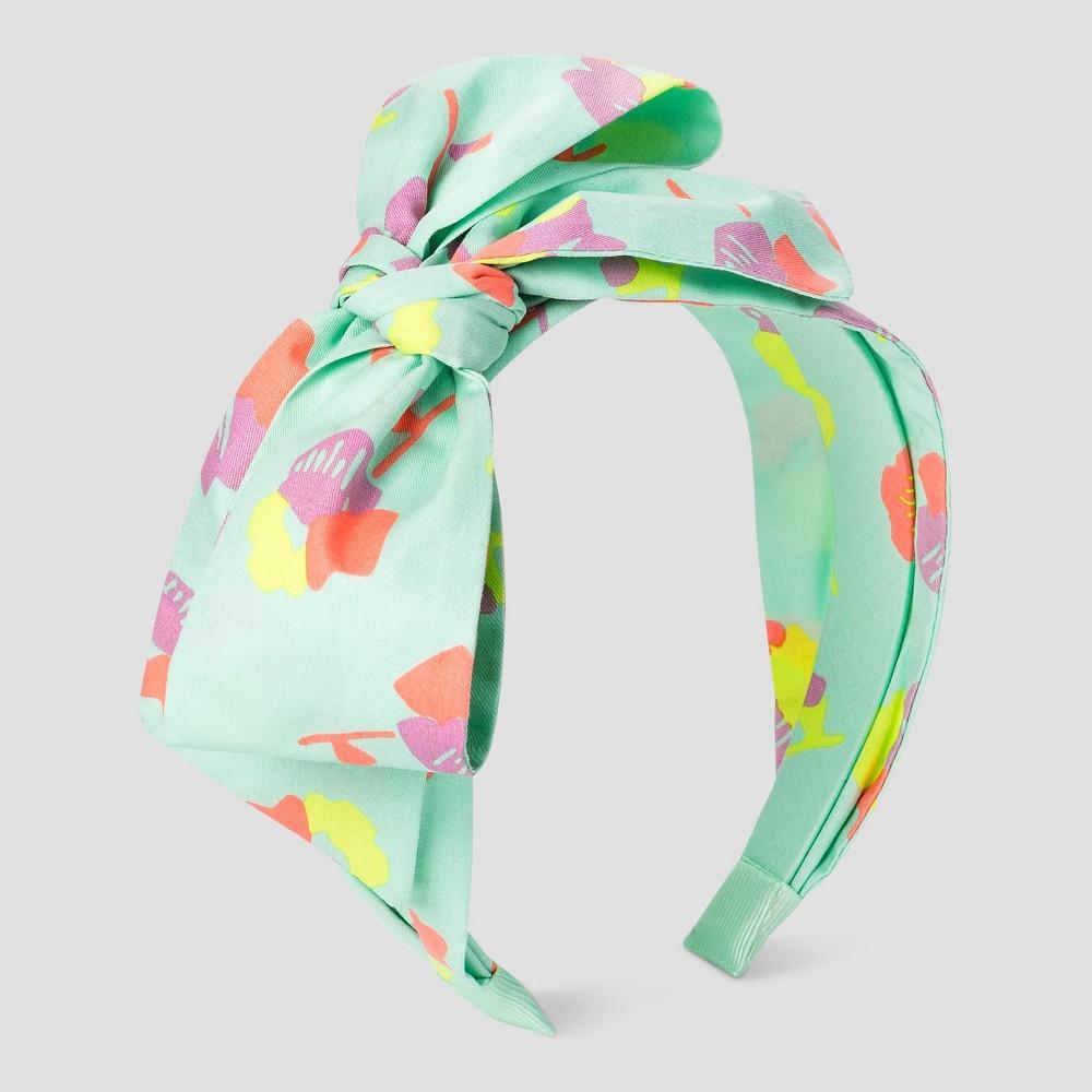 Girls Print Chiffon Bow Headband - Cat & Jack Aqua, White