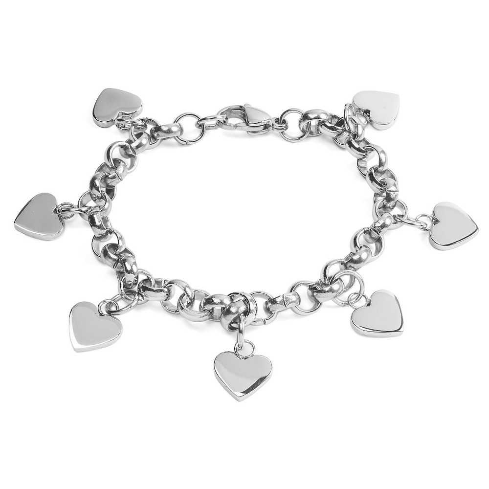 Womens Dangling Hearts Rolo Chain Stainless Steel Bracelet (6.7mm) - Silver (7), White