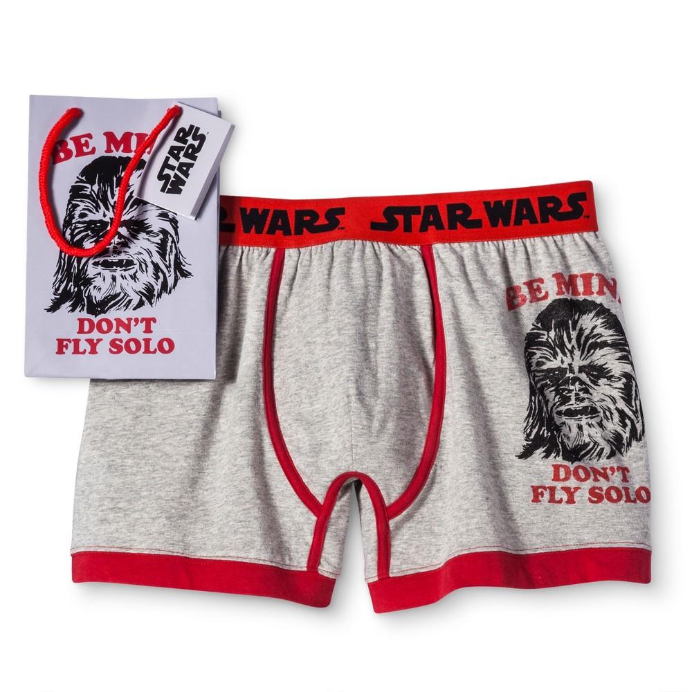 Mens Star Wars Valentines Boxer Briefs - Heather/Red S