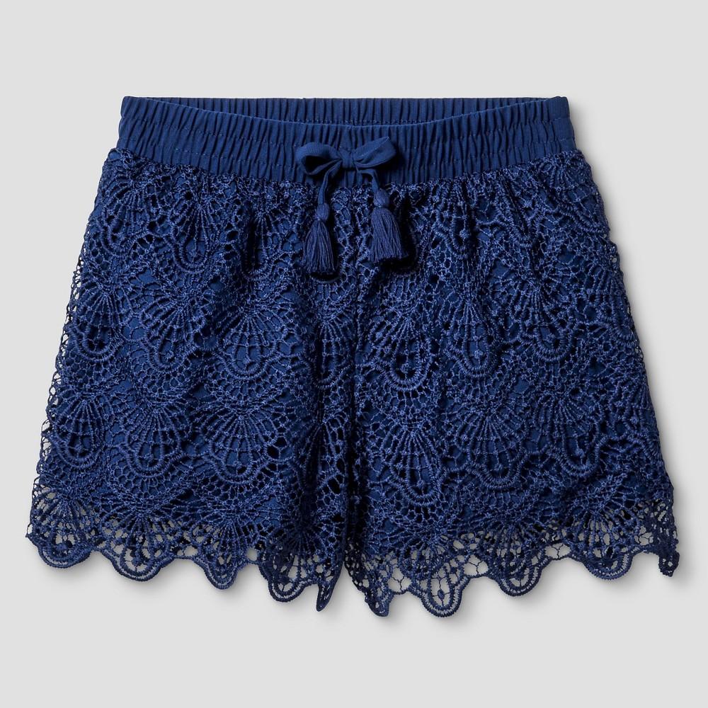 Girls' Crochet Short Art Class – Navy M, Girl's, Blue