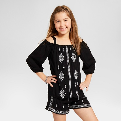 Girls' Embroidered Cold Shoulder Blouse Art Class - Black XL, Girl's