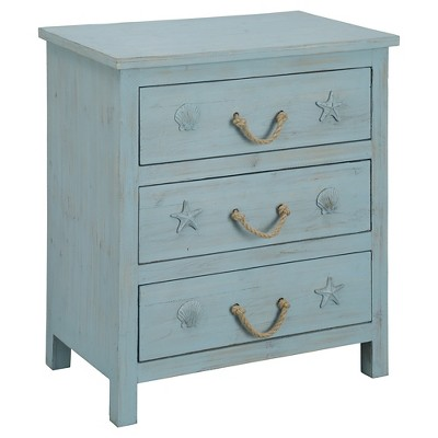 Nautical Three Drawer Chest   Blue Rub   Christopher Knight Home