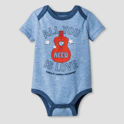 Baby Boys' The Beatles Bodysuit Blue - Epic Rights® 3-6Months