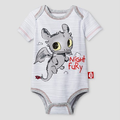Baby How To train Your Dragon Night Fury Bodysuit - White 3-6Months