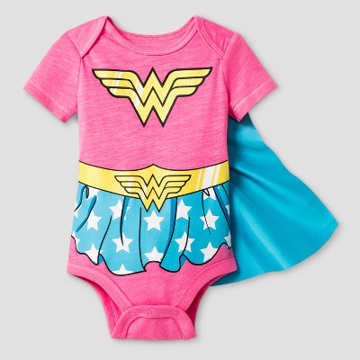 Baby Girls' Wonder Woman Bodysuit with Cape Red - Warner Bros. &#174 0-3Months