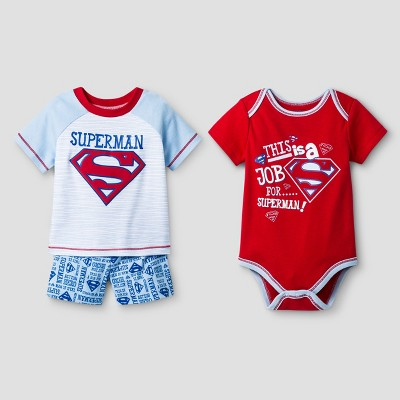 Baby Boys' 3pc Superman Short Set Red - Warner Bros.® 6-9Months