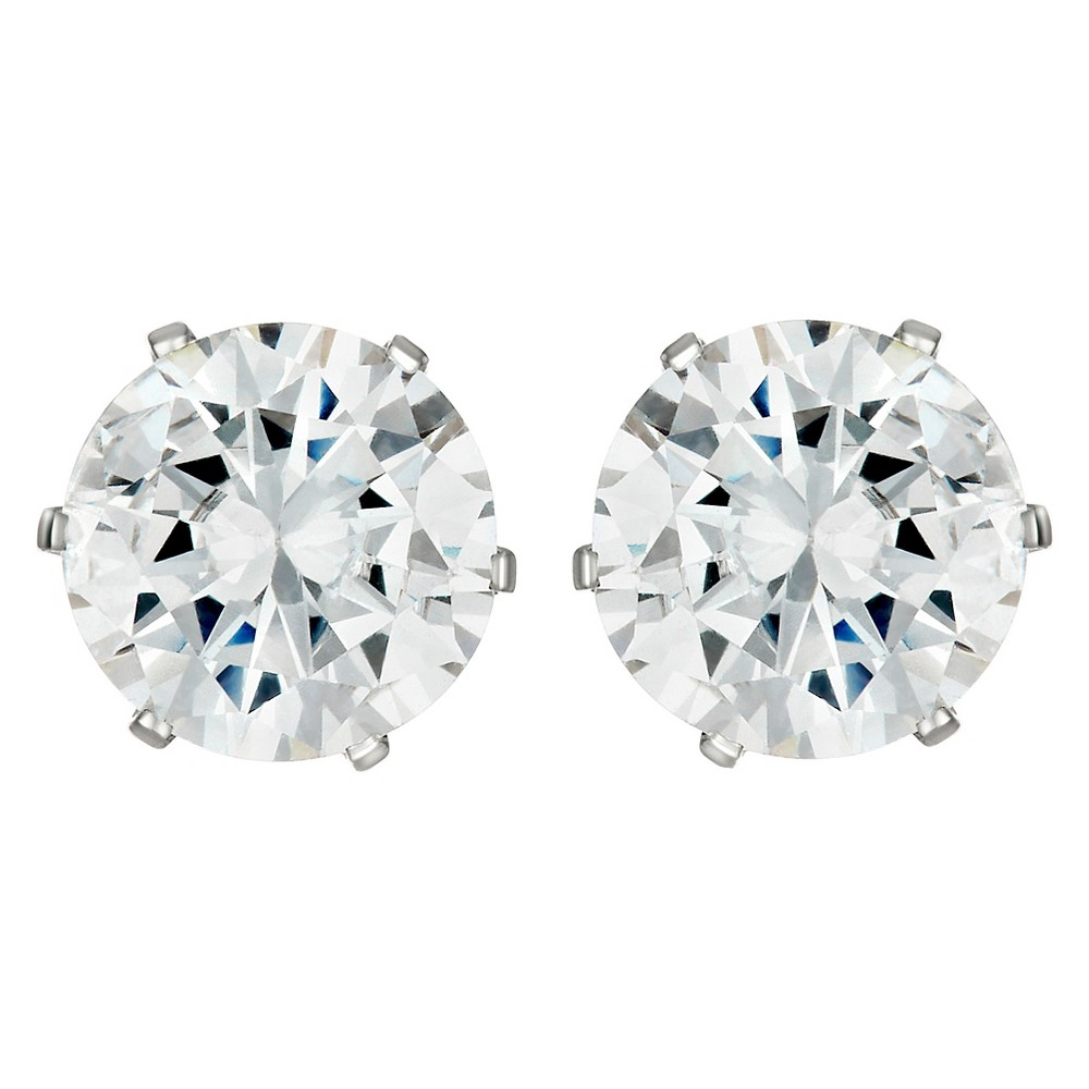 Womens Prong Set Cubic Zirconia Stud Stainless Steel Earrings (8mm) - Silver