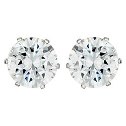 Women's Prong Set Cubic Zirconia Stud Stainless Steel Earrings (8mm) - Silver
