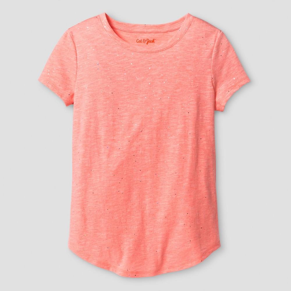 Girls Coral Sparkle Favorite T-Shirt - Cat & Jack Sunrise Coral Xxl