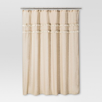 Shapes Solid Shower Curtain Brown Linen - Threshold™