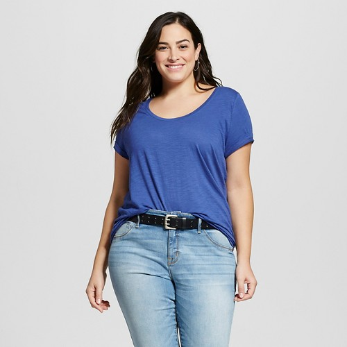 Women's Plus Size Scoop Neck Tee Sporty Blue 4X - Ava & Viv