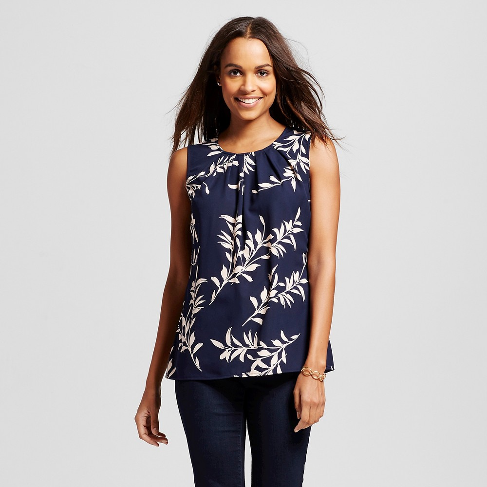 Womens Printed Blouse Navy (Blue) XS - Merona