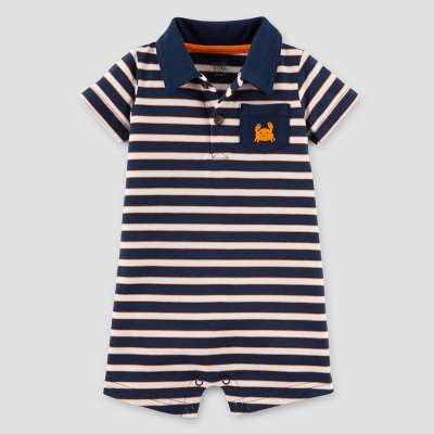 Baby Boys' Crab Romper - Just One You™ Made by Carter's® Navy Stripe NB