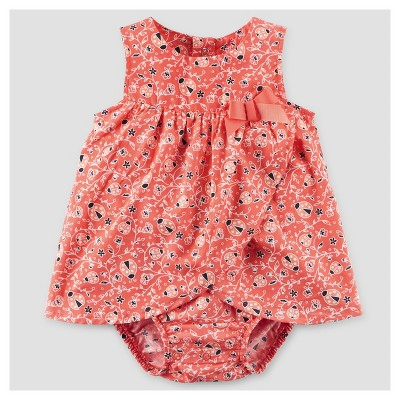 Baby Girls' Ladybug Print Sunsuit Dress - Just One You™ Made by Carter's® Orange/Red NB