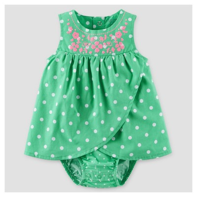 Baby Girls' Polka Dot Sunsuit Dress - Just One You™ Made by Carter's® Green NB