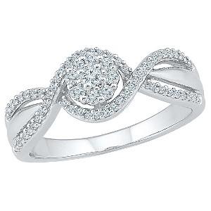 1/4 CT.T.W Round White Diamond Prong Set Promise Ring in 10K White Gold (8.50), Women