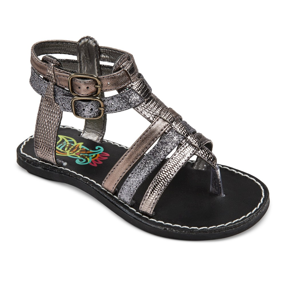 Toddler Girls Rachel Shoes Lil Mercedes Gladiator Sandals - Metallic Pewter 6