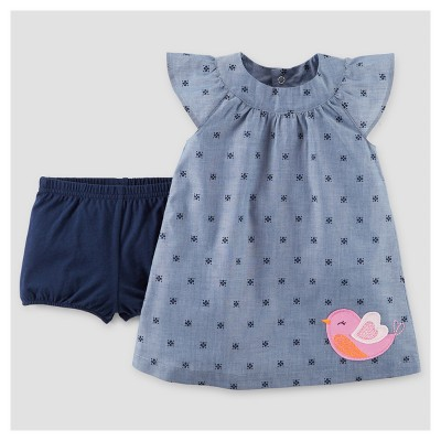 Baby Girls' Pink Bird Dress - Just One You™ Made by Carter's® Chambray 9M