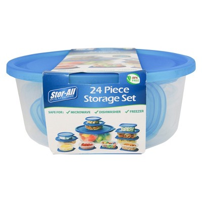 Stor-All Solutions Clear Blue Food Storage Container 24 Pc