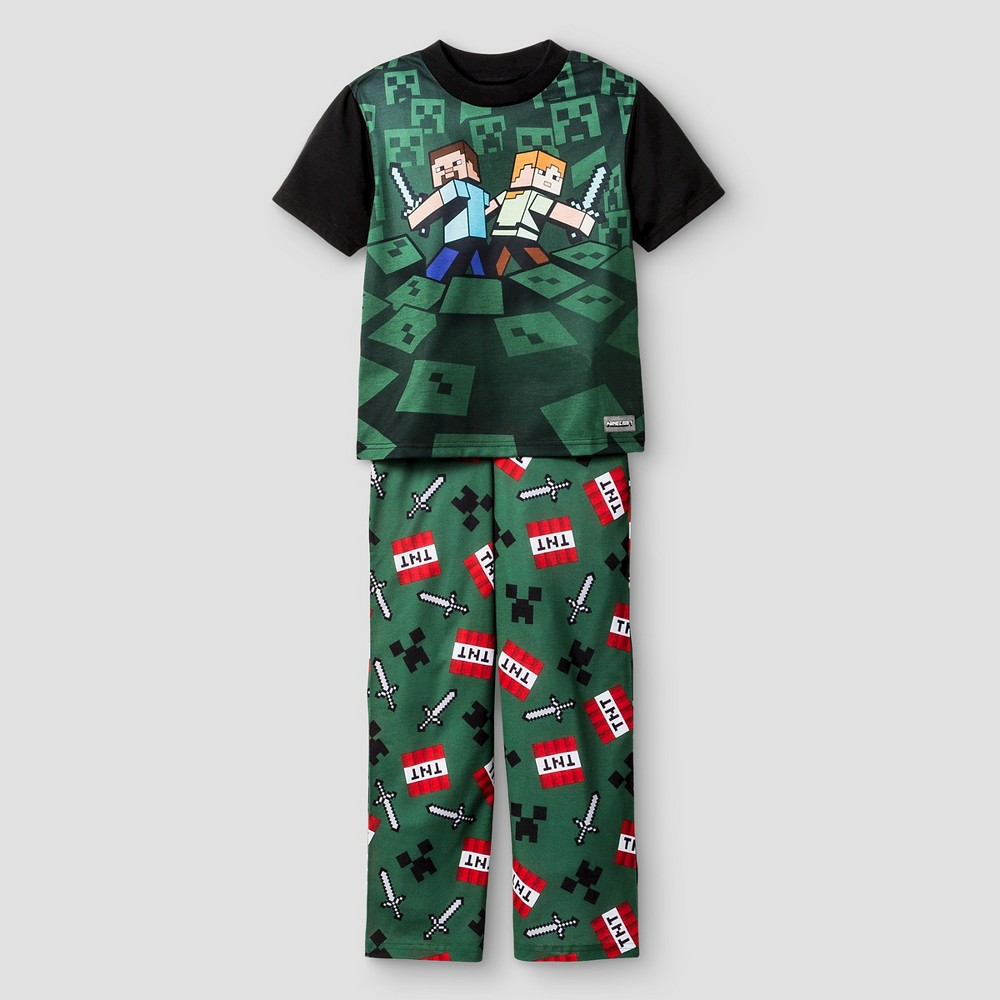 Boys Minecraft Pajama Sets – Green M, Boy's
