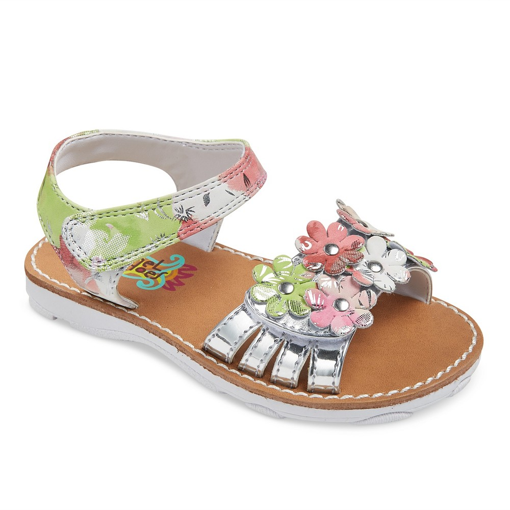 Toddler Girls Rachel Shoes Shea Floral Sandals - Silver 9