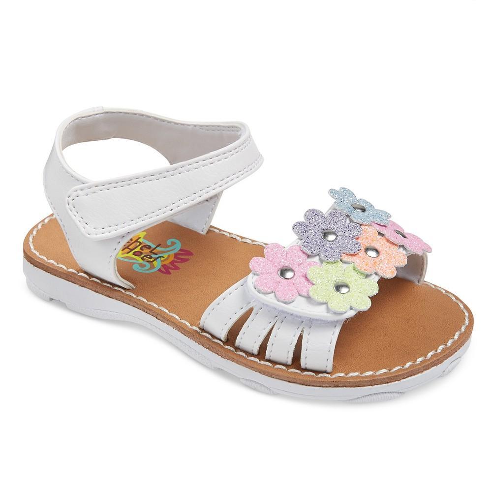 Toddler Girls Rachel Shoes Shea Floral Sandals - White Shimmer 10
