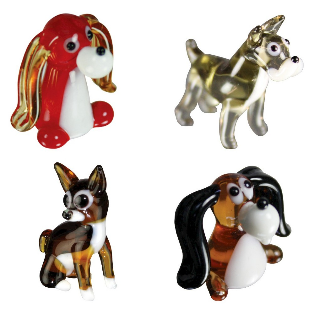 Looking Glass 4 - Pack - Dogs: Chihuahua, Schnauzer, Beagle, Long Ear Dog Mini Figurines