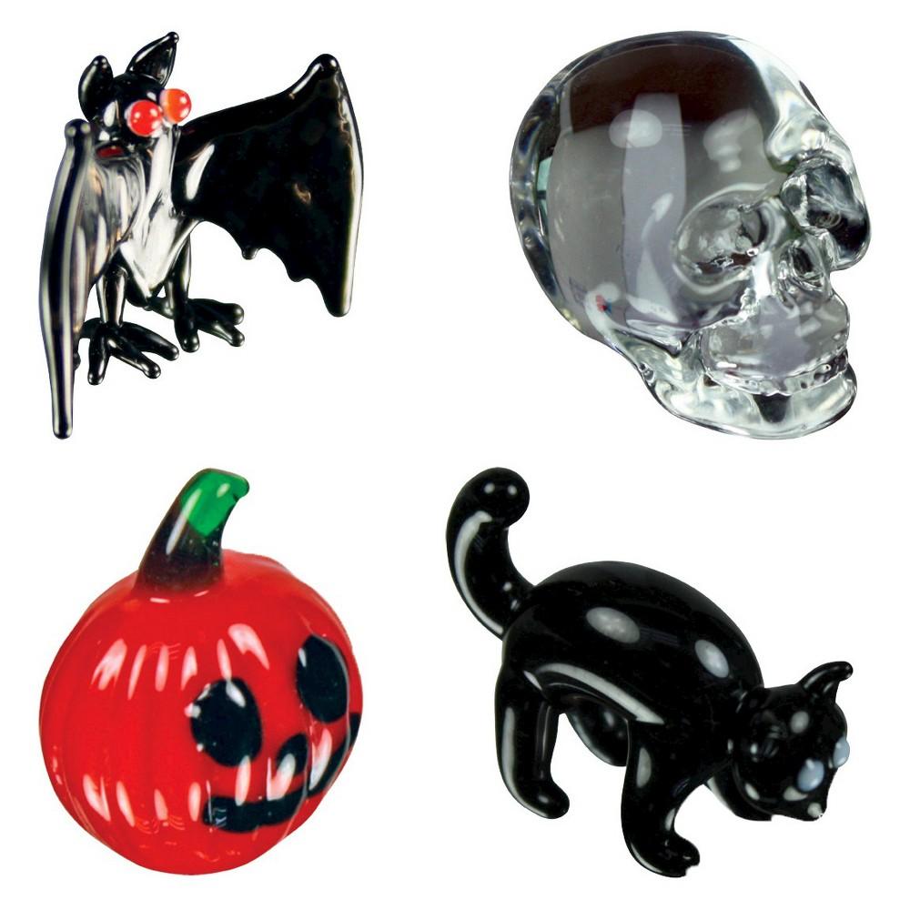 Looking Glass 4-pk - Halloween Series: Vampirebat, Skull, Blackcat, Pumpkin Mini Figurines