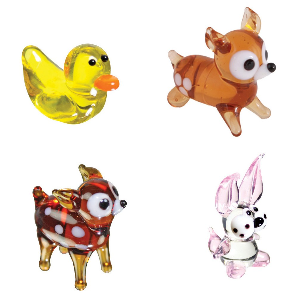 Looking Glass - Animal Series: Duck, Rabbit, Deer and Fawn Mini Figurines
