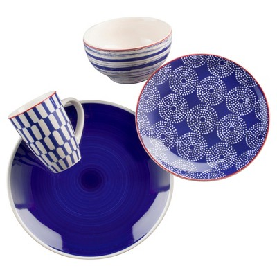 Euro Ceramica® Simpatico Earthenware 16pc Dinnerware Set Blue