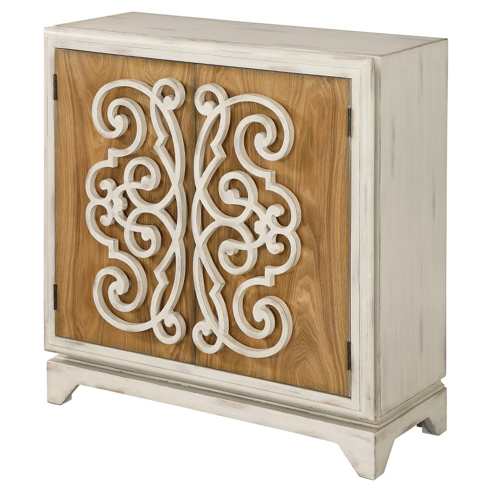 Raised Scrolled Two Door Cabinet – White Rub – Christopher Knight Home