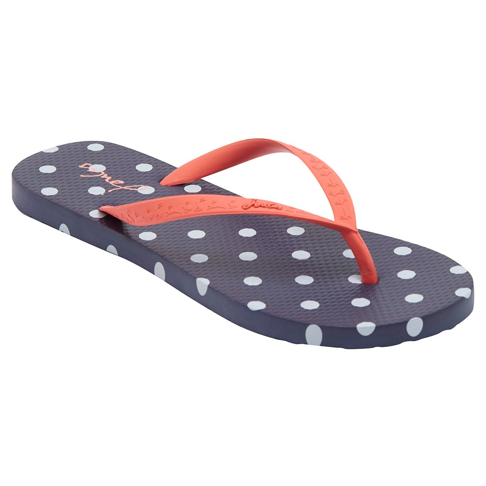 Womens Joules Sandy French Polka Dot Flip Flop Sandals - Navy 10, Blue