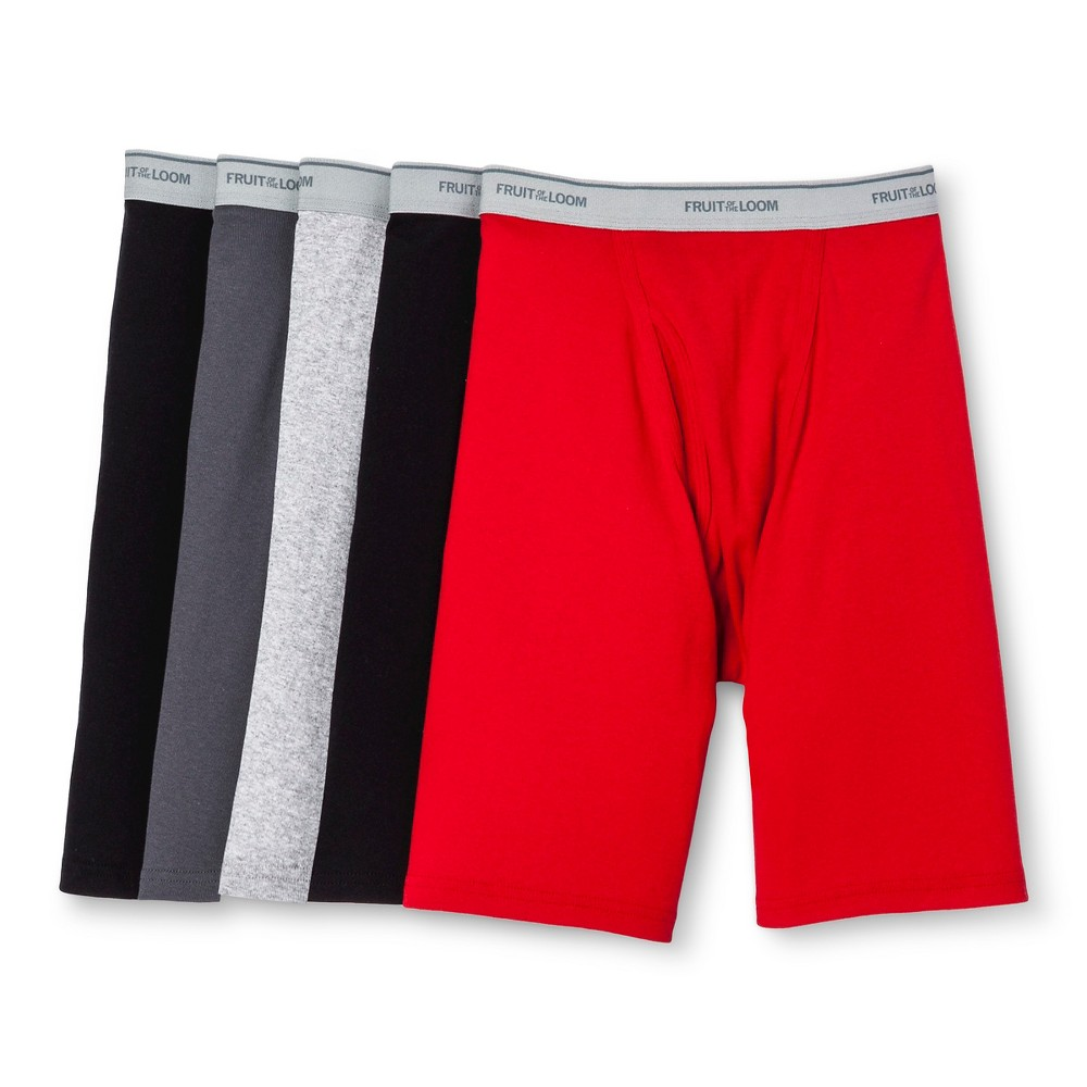 Fruit of the Loom Mens 5pk Long Leg Boxer Briefs - Red/Black/Gray XL, Multicolored