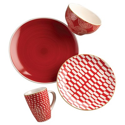 Euro Ceramica® Simpatico Earthenware 16pc Dinnerware Set Red