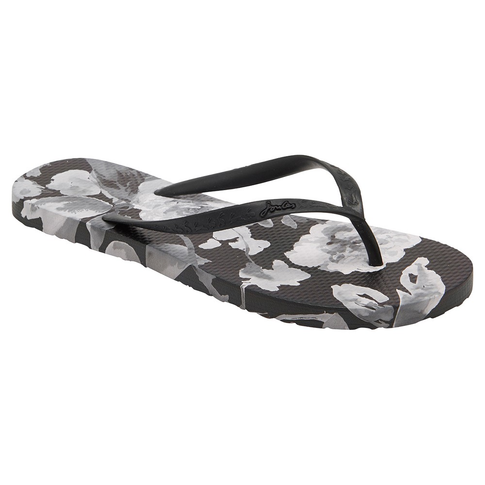 Womens Joules Sandy Beau Bloom Flip Flop Sandals - Black/White 8