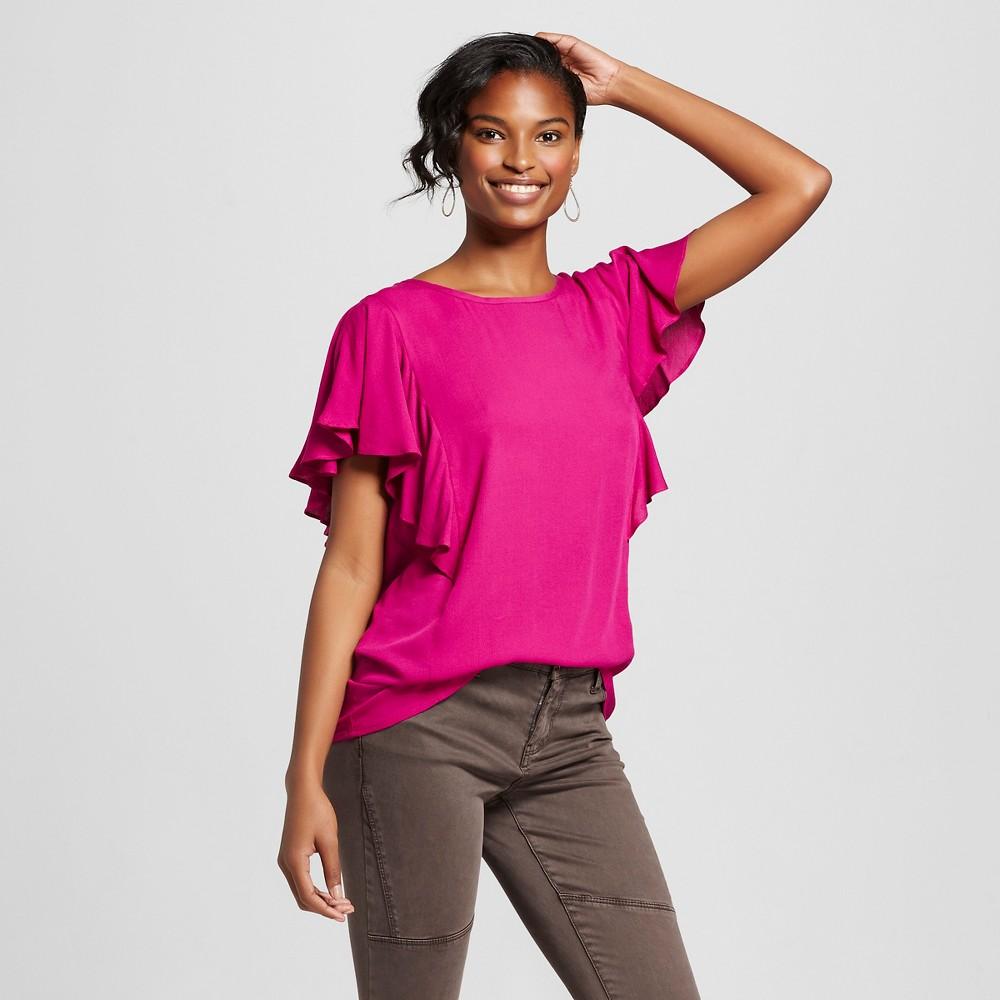 Women's Flutter Sleeve Blouse Springtime Pink Xxl – Merona