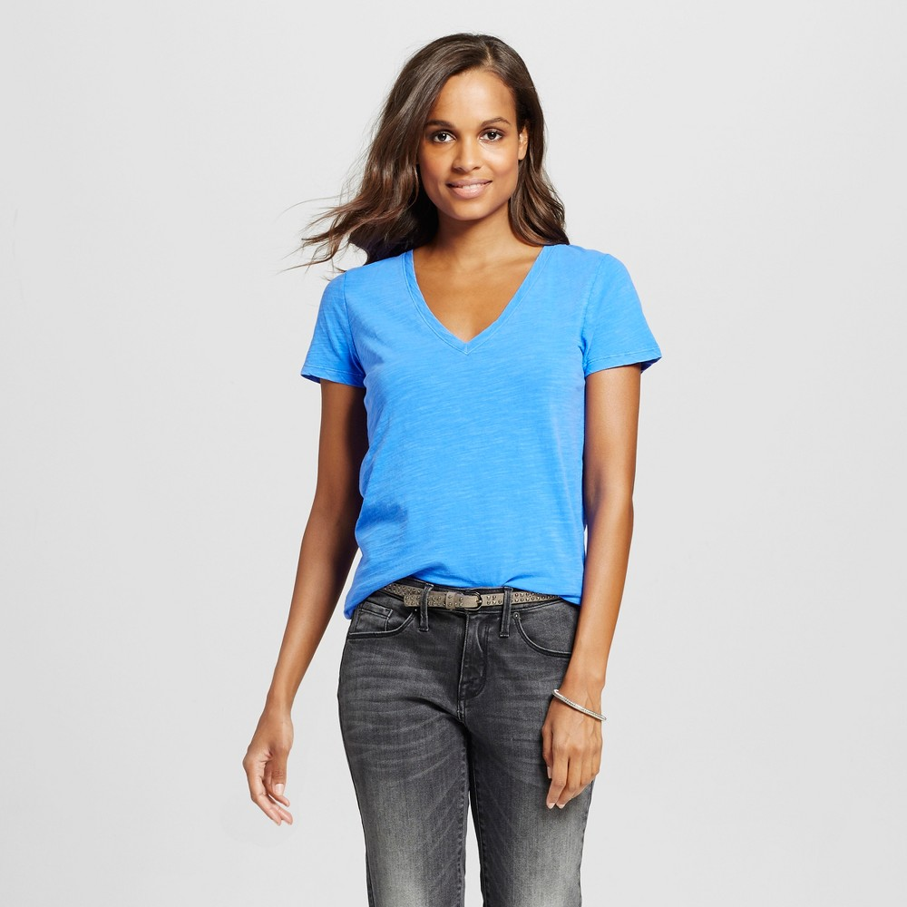 Women's Vintage Vee Tee Abstract Blue M - Merona