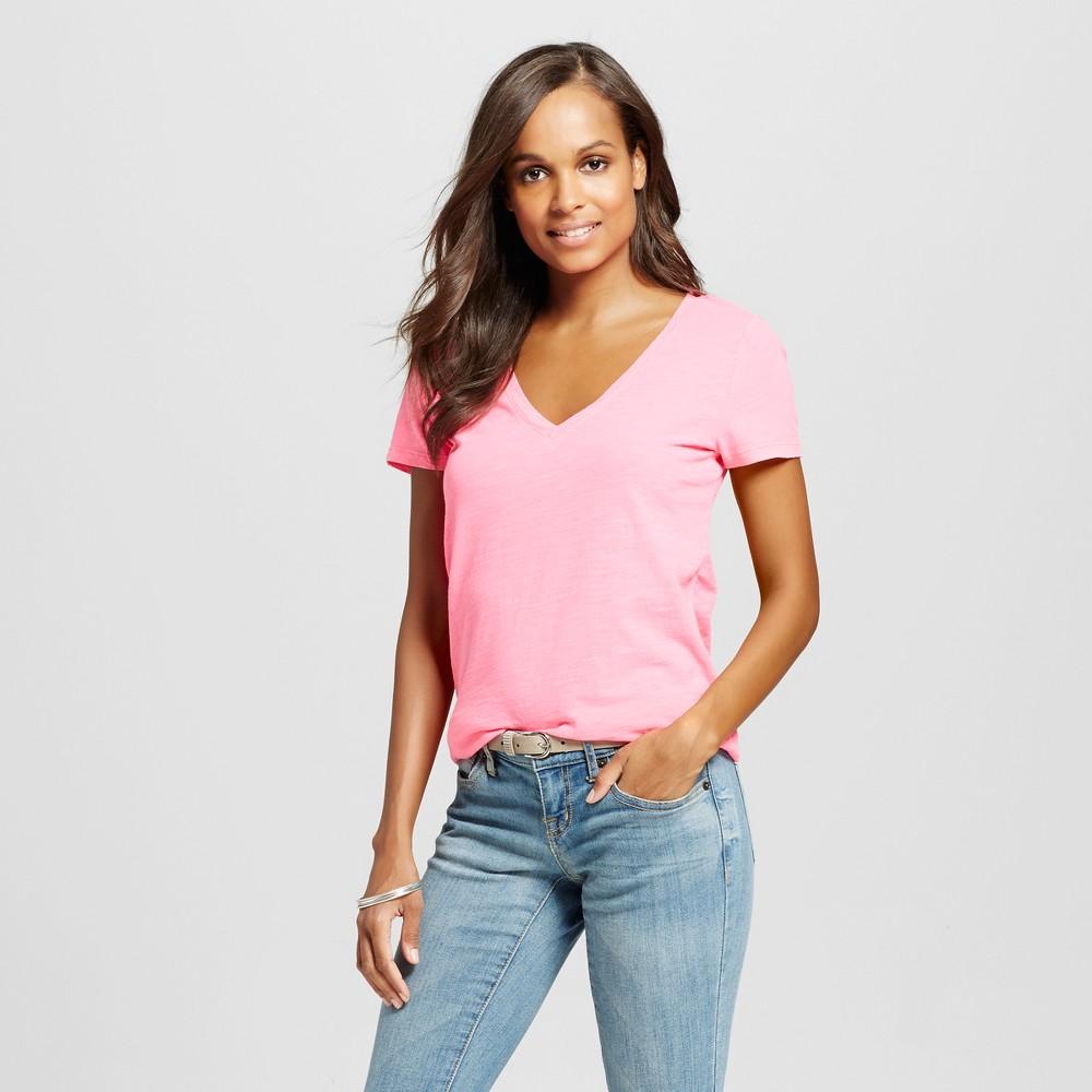 Womens Vintage Vee T-Shirt Bali Pink XS - Merona