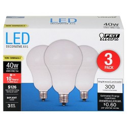 Feit® A15 40-Watt 3pk LED Light Bulb Candelabra Base - Day Light